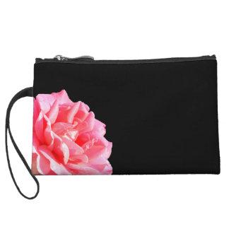 Pink Rose on Black Wristlet Purses