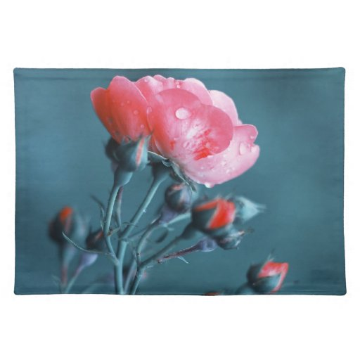 Pink Rose on Teal Place Mats