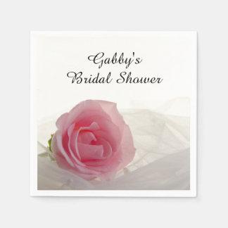 Pink Rose on White Bridal Shower Disposable Napkin