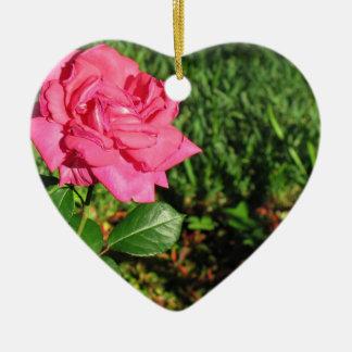 Pink Rose ornament, customize Ceramic Heart Decoration