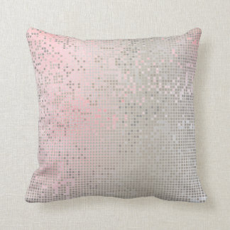 Pink Rose Pastel White Ombre Silver Cyber Numeric Throw Pillow