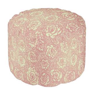 Pink Rose Pattern Pouf