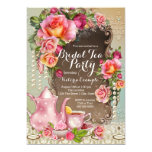 Pink Rose Pearl Bridal Tea Party 13 Cm X 18 Cm Invitation Card