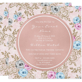 Pink Rose Pearly Blush Gray Baroque Antoinette Card