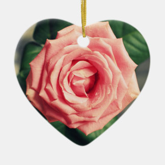 Pink rose personalised heart christmas decor ceramic ornament