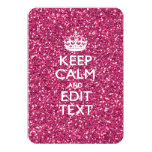 Pink Rose Personalised KEEP CALM AND Your Text 9 Cm X 13 Cm Invitation Card