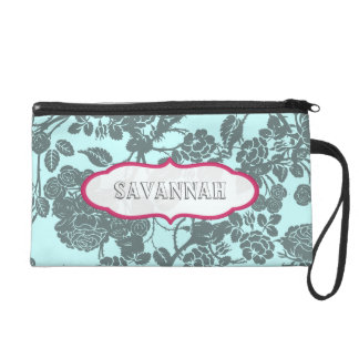 Pink Rose personalized Clutch bridesmaid gift Wristlet Clutch