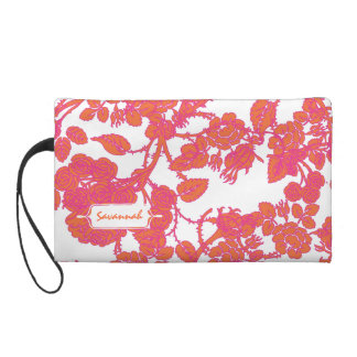 Pink Rose personalized Clutch bridesmaid gift Wristlet Clutches
