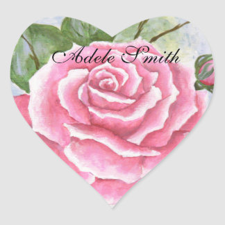 Pink Rose Personalized Flower Favor Stickers