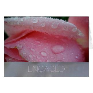 Pink Rose Petal Engagement Card