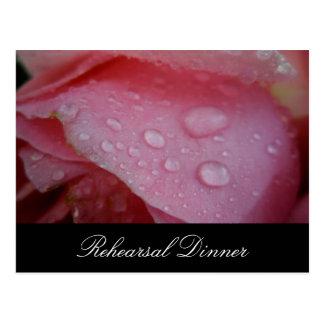 Pink rose petal wedding rehearsal invitation postcard
