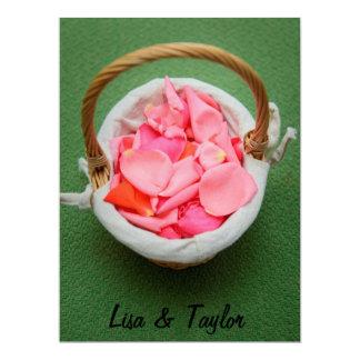 Pink rose petals basket 17 cm x 22 cm invitation card