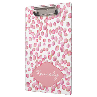 Pink rose petals clipboard