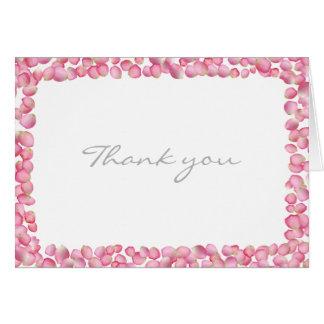 Pink rose petals custom note card