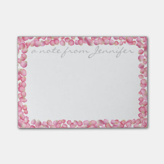 Pink rose petals custom Post-it note pad
