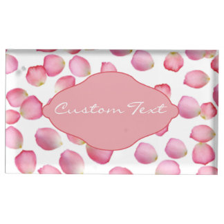 Pink rose petals custom table card holder