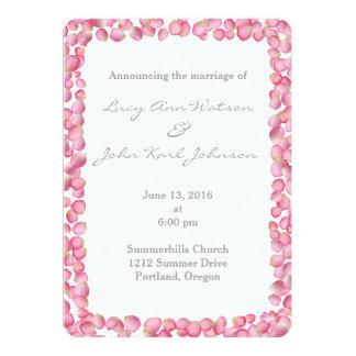 Pink rose petals custom wedding invitation