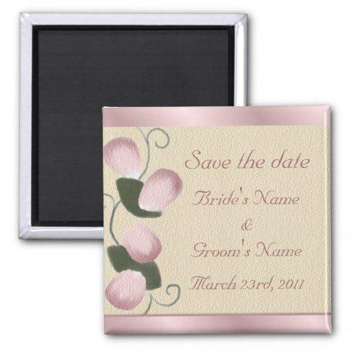 Pink Rose Petals Customizable Save the Date Magnet