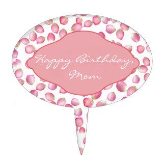 Pink rose petals design cake picks
