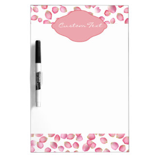Pink rose petals design dry erase whiteboards