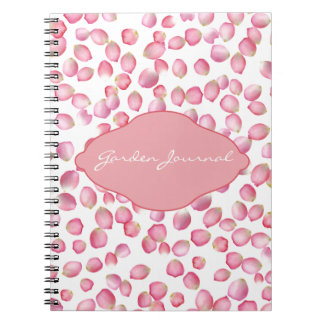 Pink rose petals design notebooks