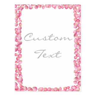 Pink rose petals design postcard