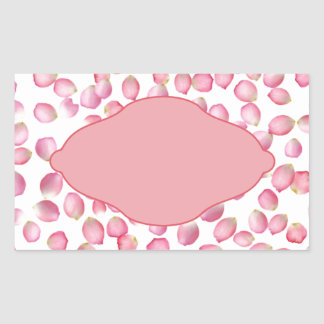 Pink rose petals design rectangular sticker