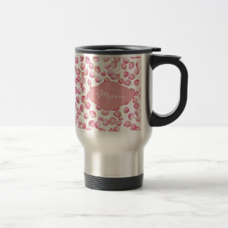 Pink rose petals design stainless steel travel mug