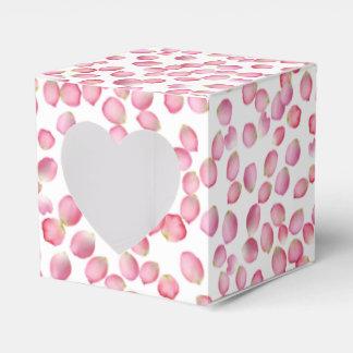 Pink rose petals favor box favour box