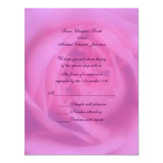 "Pink Rose Petals Floral Wedding Response RSVP 4.25"" X 5.5"" Invitation Card"