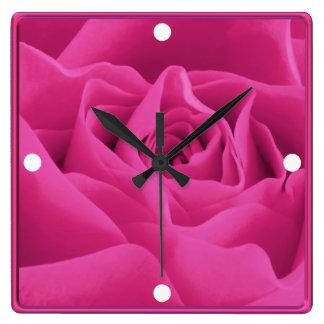 Pink Rose Petals Framed Custom Square Wall Clock