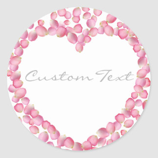 Pink rose petals heart custom sticker