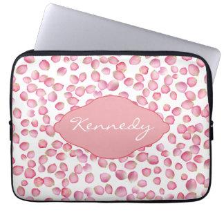 Pink rose petals laptop sleeve