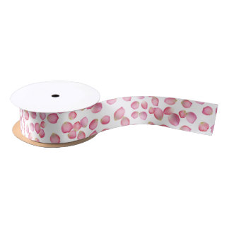 Pink rose petals ribbon satin ribbon