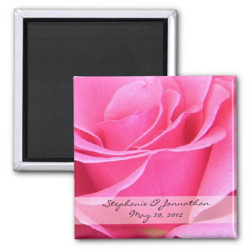Pink Rose Petals Save the Date Magnet