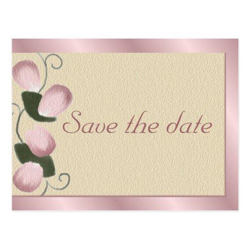 Pink Rose Petals Save the Date Postcard