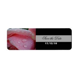 Pink Rose Petals Save the Date Return Address Label