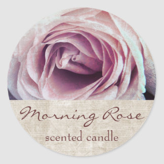 pink rose petals - scented candle or soap label round sticker