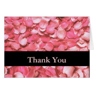Pink Rose Petals Thank You Card