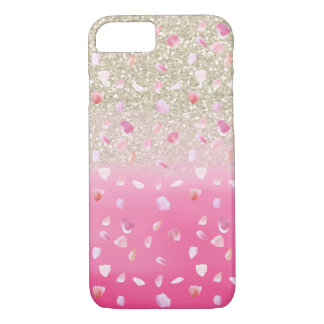 Pink Rose Petals Watercolor Faux Gold Glitter iPhone 7 Case