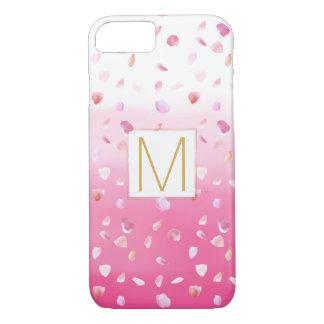 Pink Rose Petals Watercolor Ombre Gold Monogram iPhone 7 Case