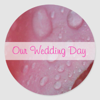 Pink Rose Petals wedding Classic Round Sticker