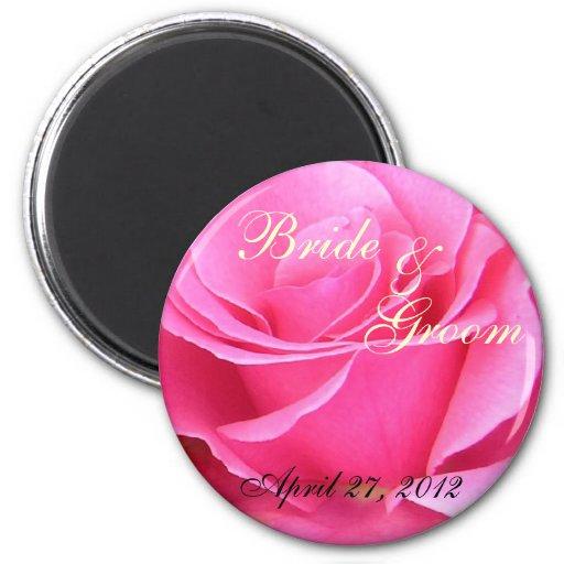 Pink Rose Petals wedding save the date magnet