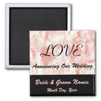 Pink Rose Petals Wedding Save the Date Magnet