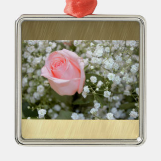 Pink Rose Photo Silver-Colored Square Decoration