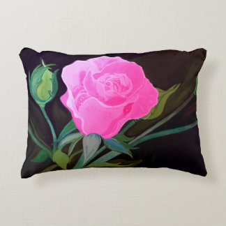 Pink Rose Pillow on black background