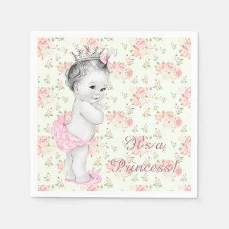 Pink Rose Pink Princess Baby Shower Disposable Serviettes