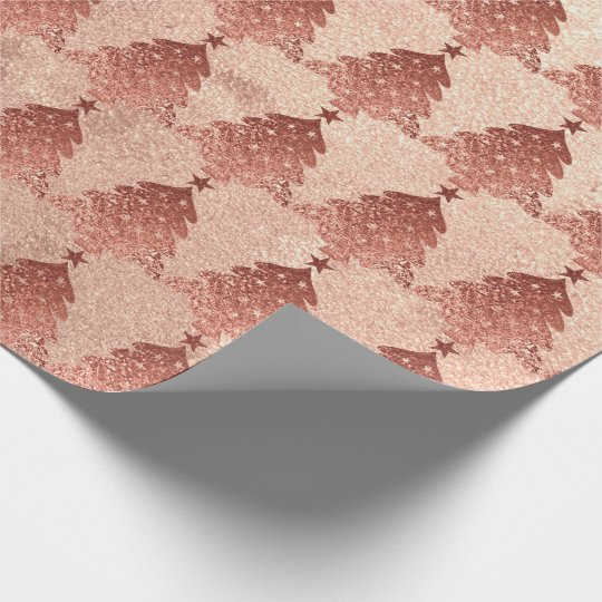 Pink Rose Powder Gold Blush Christmas Tree Copper Wrapping Paper