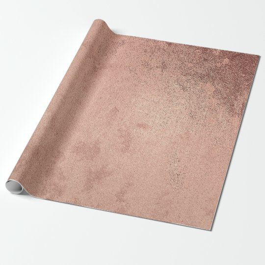 Pink Rose Powder Gold Grunge  Metallic Red Copper Wrapping Paper
