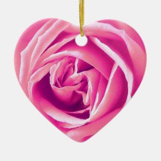 Pink rose print ceramic heart decoration
